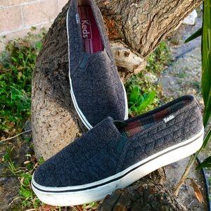 Gray slip on Keds sneakers